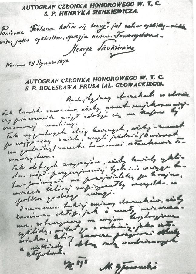 Fotokopie autografów dwóch najsłynniejszych członków honorowych WTC - Henryka Sienkiewicza i Bolesława Prusa.